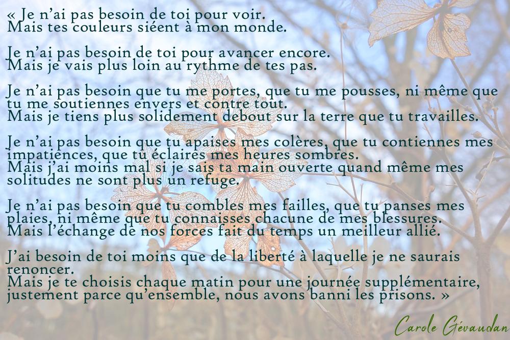 "Texte de Carole GEVAUDAN ""Je n'ai pas besoin de toi"""